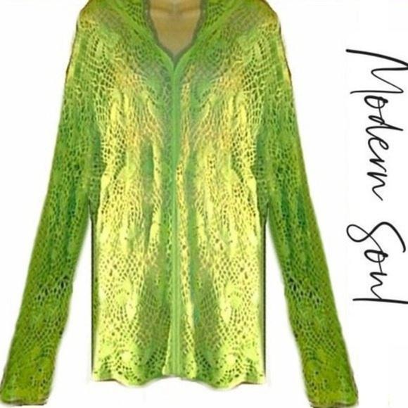 3351733bd4 Modern Soul Tops | Crochet Mesh Beach Coverup 100 Cotton Jacket Hood ...